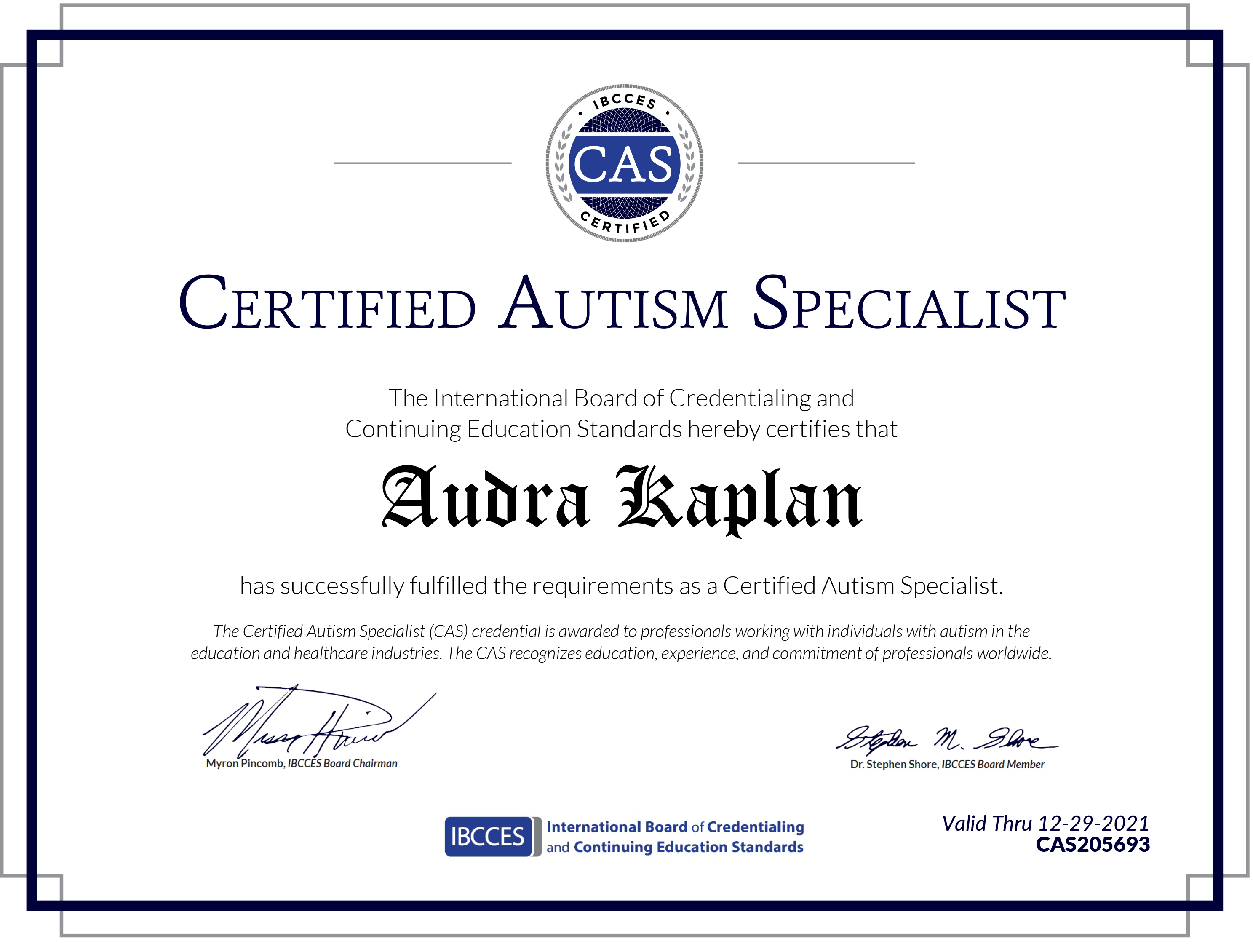 Certified Autism Specialist Certificate Dr. Audra Kaplan Ramah Darom Tikvah Support Program