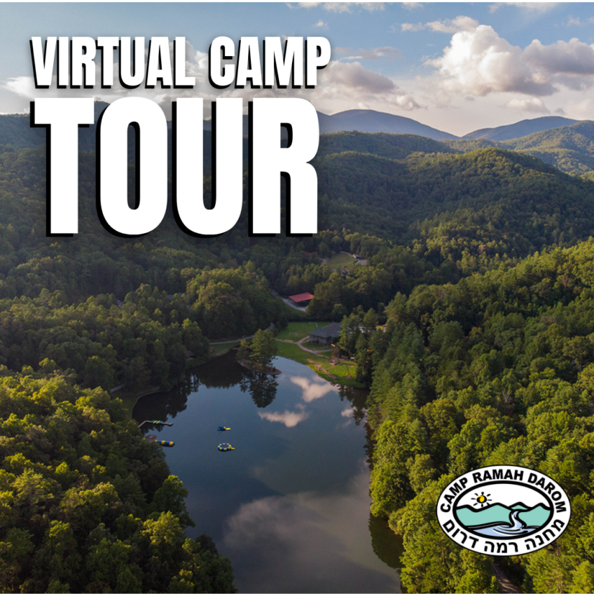Virtual Camp Tour with drone image of campus showing lake, blob, trampoline, trees and mountains.