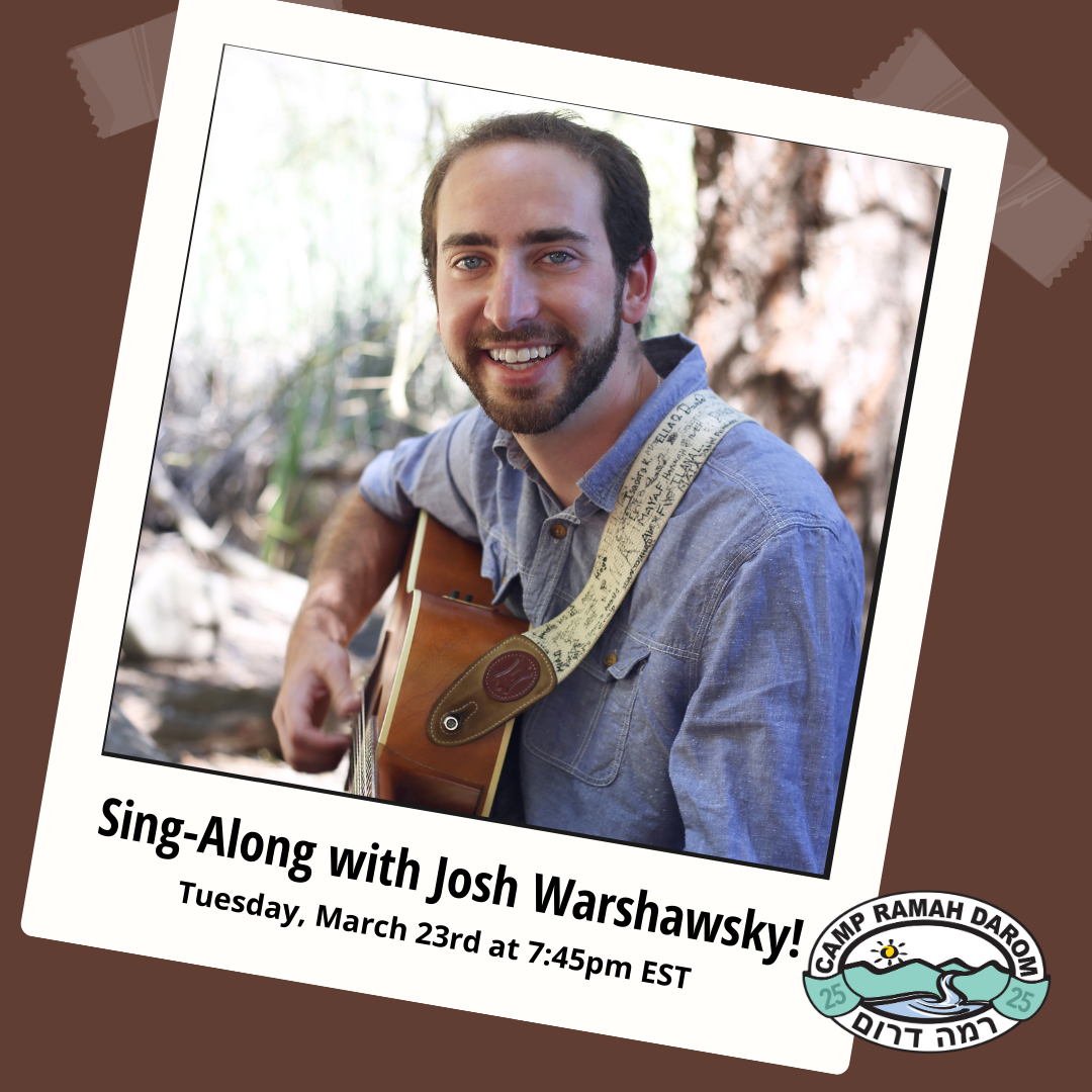 Sing a long with Josh Warshawsky with a photo of Josh playing his guitar in an old polaroid frame.