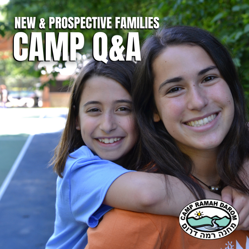New and Prospective Family Information Session. Camp Q & A. Photo of young girl camper on the back of young female staff both with big smiling faces.